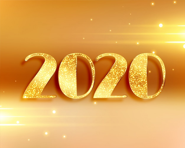 Hermoso fondo de año nuevo 2020 en colores dorados