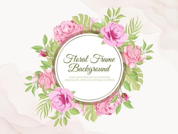Hermoso fondo de banner de boda floral y diseño de plantilla de hoja