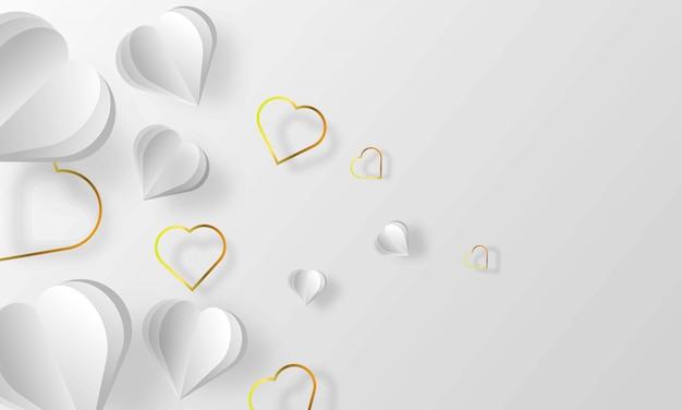 Hermoso fondo blanco encantador con estilo papercut