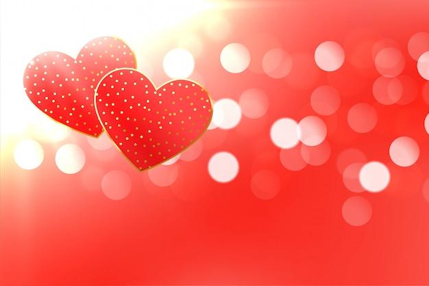 Hermoso fondo bokeh corazones con espacio de texto