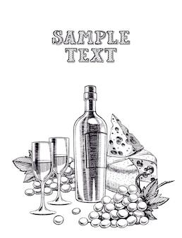 Hermoso fondo con una botella de vino, vasos, racimo de uvas y queso