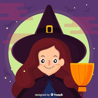 Hermoso fondo de brujas de halloween