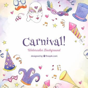 Hermoso fondo de carnaval dibujado a mano