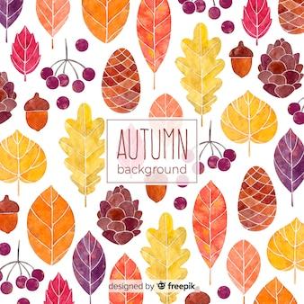 Hermoso fondo de otoño de acuarela
