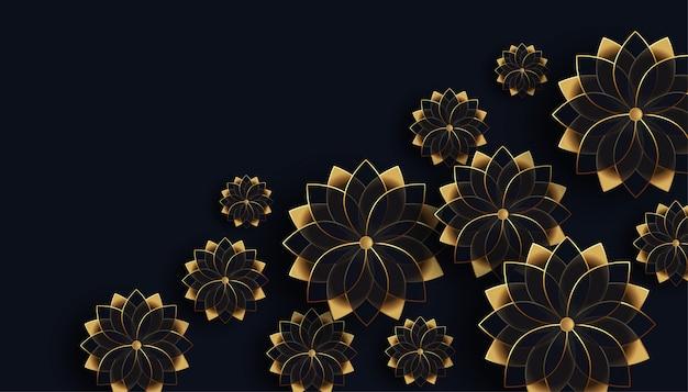 Hermoso fondo de decoración de flores negras y doradas
