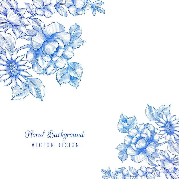 Hermoso fondo decorativo marco floral azul