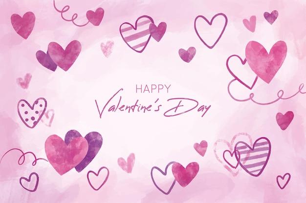 Hermoso fondo del día de san valentín con corazones dibujados a mano