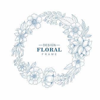 Hermoso fondo de dibujo de marco floral circular decorativo