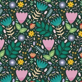Hermoso fondo con diferentes flores y hojas.
