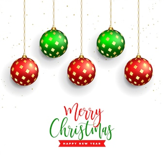 Hermoso fondo de feliz navidad con decoración realista de bolas