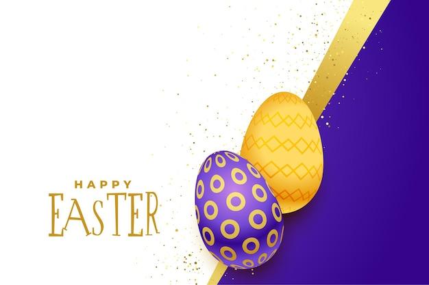 Hermoso fondo feliz pascua con huevos dorados y morados