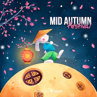 Hermoso fondo del festival de medio otoño