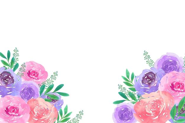 Hermoso fondo floral acuarela con espacio en blanco
