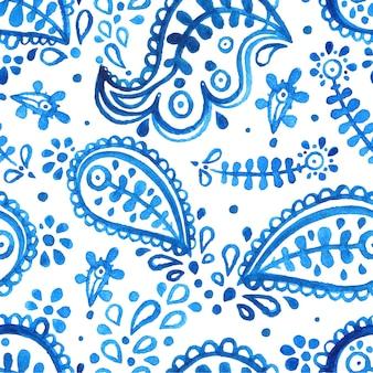 Hermoso fondo floral blanco y azul acuarela transparente. patrón de paisley.