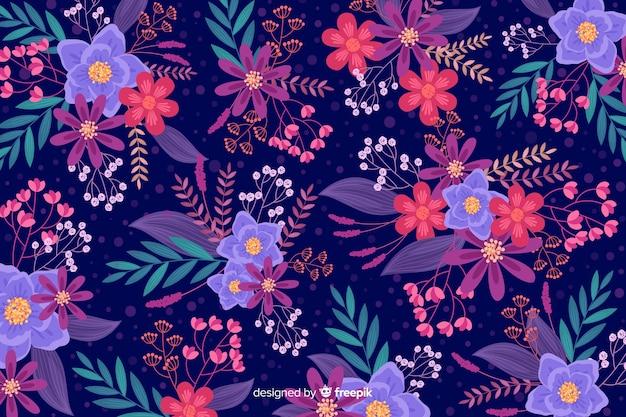 Hermoso fondo floral en diseño plano