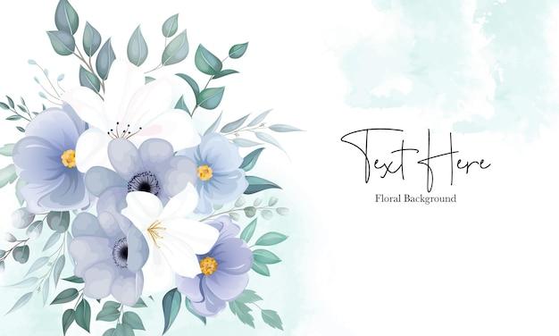 Hermoso fondo floral con elegante flor azul marino y blanca