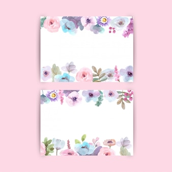 Hermoso fondo floral con flores acuarelas