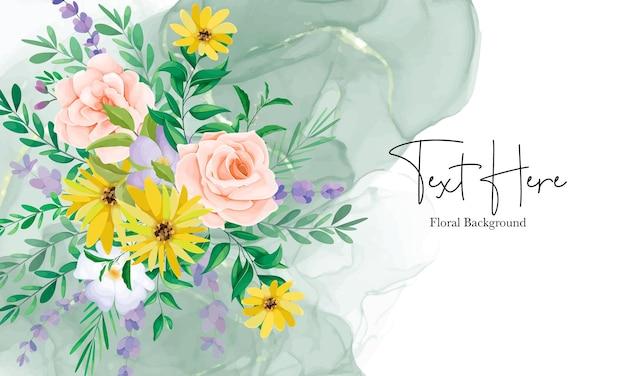 Hermoso fondo floral de flores silvestres con tinta de alcohol