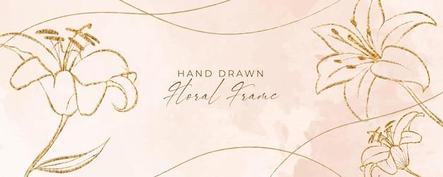 Hermoso fondo floral con naturaleza dorada o flor de hibisco y líneas para banner e impresión de papel tapiz