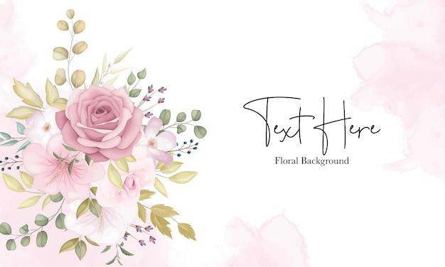 Hermoso fondo floral suave con flores de color rosa polvoriento