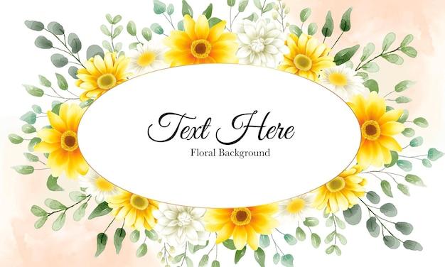 Hermoso fondo de flores de acuarela dibujada a mano con plantilla de texto de muestra