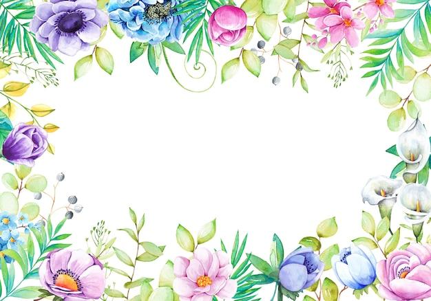 Hermoso fondo con flores de acuarela pintadas a mano