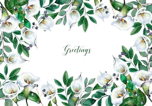 Hermoso fondo con flores acuarelas