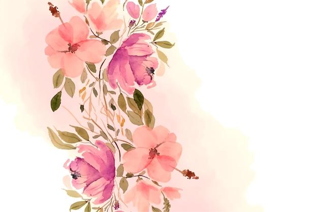 Hermoso fondo de flores y hojas de acuarela