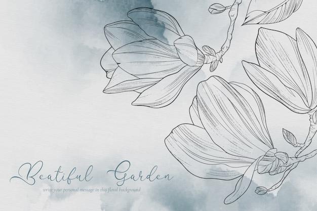 Hermoso fondo con flores de magnolia