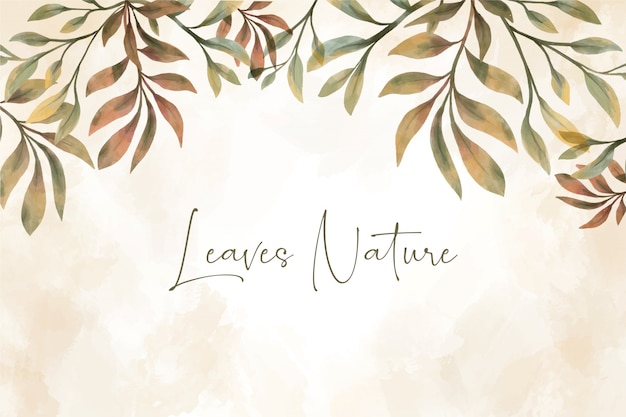 Hermoso fondo de hojas de acuarela