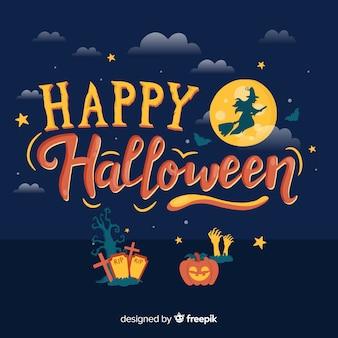 Hermoso fondo de lettering de feliz halloween