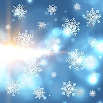 Hermoso fondo de luces bokeh y copos de nieve de invierno de navidad