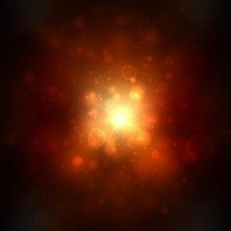 Hermoso fondo de luces doradas con muchos brillos.