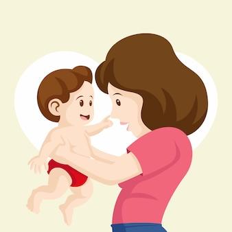 Hermoso fondo de madre riendo con su bebé. bebé toca la nariz de su madre ilustración. feliz día de la madre