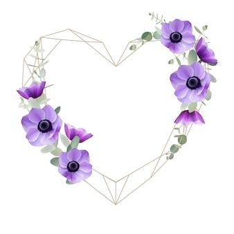 Hermoso fondo de marco de amor con flores de anémona floral