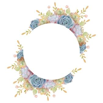 Hermoso fondo de marco de amor con flores suculentas