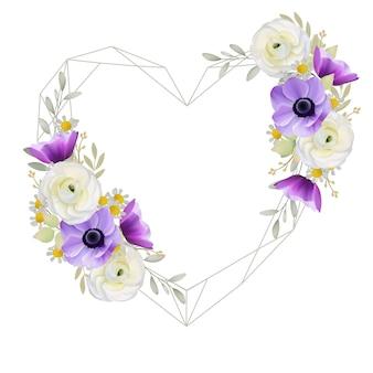 Hermoso fondo de marco de amor con ranúnculo floral y flores de anémona