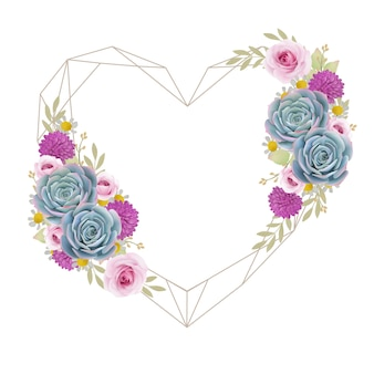 Hermoso fondo de marco de amor con rosas florales y suculentas