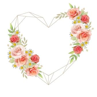 Hermoso fondo de marco de amor con rosas florales