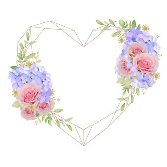 Hermoso fondo de marco de amor con rosas rosadas florales y hortensias