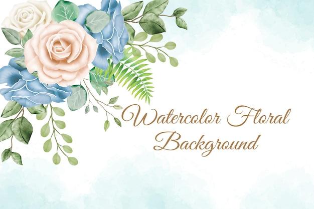 Hermoso fondo de marco floral acuarela para plantilla de banner de boda