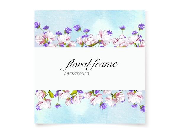 Hermoso fondo de marco floral de flor de cerezo