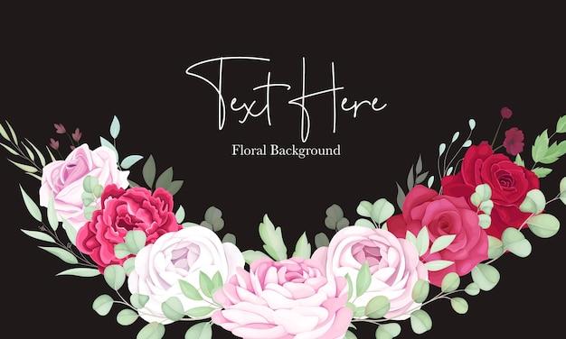 Hermoso fondo de marco floral rojo y rosa con elegante tinta de alcohol