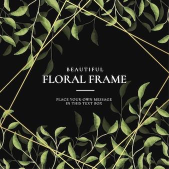 Hermoso fondo de marco floral vintage con hojas de acuarela dibujadas a mano