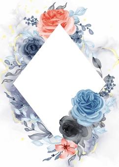 Hermoso fondo de marco naranja azul rosa con diamante de espacio en blanco