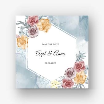 Hermoso fondo de marco rosa para invitación de boda con color pastel suave
