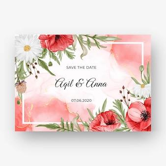 Hermoso fondo de marco rosa para invitación de boda con flor de amapola roja