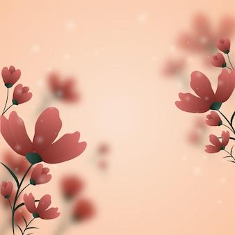 Hermoso fondo melocotón decorado floral.