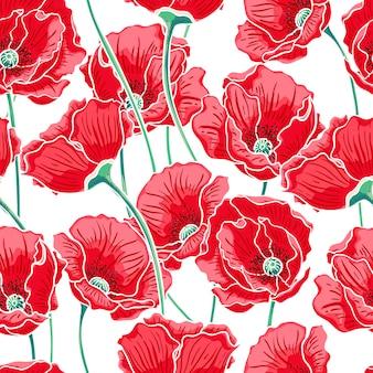 Hermoso fondo de naturaleza de verano con amapolas rojas