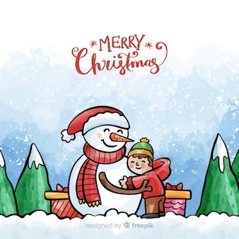 Hermoso fondo de navidad en estilo de acuarela